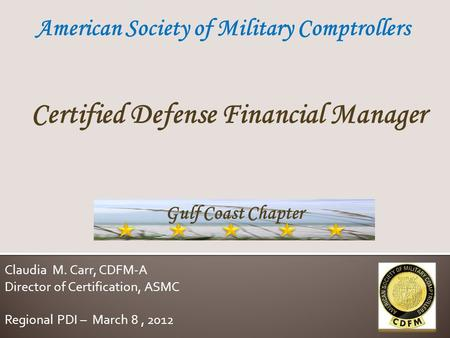 Certified Defense Financial Manager