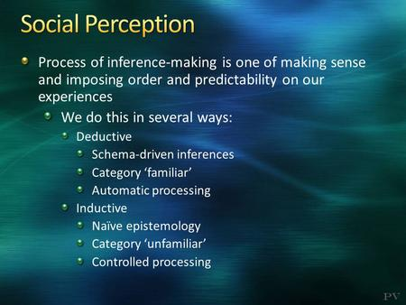 PV Process of inference-making is one of making sense and imposing order and predictability on our experiences We do this in several ways: Deductive Schema-driven.