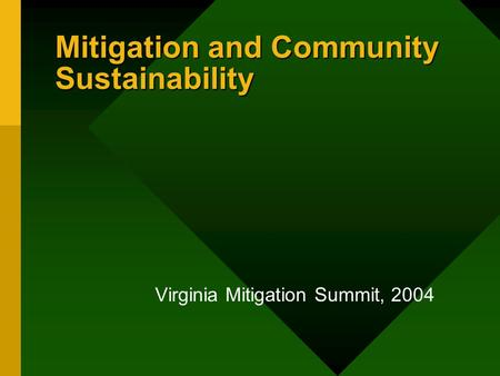 Mitigation and Community Sustainability Virginia Mitigation Summit, 2004.