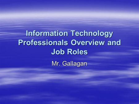 Information Technology Professionals Overview and Job Roles Mr. Gallagan.