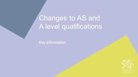 1 Changes to AS and A level qualifications Key information.