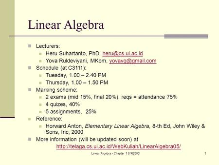 Linear Algebra - Chapter 1 [YR2005]