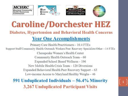 Caroline/Dorchester HEZ Diabetes, Hypertension and Behavioral Health Concerns Year One Accomplishments Primary Care Health Practitioners – 10.4 FTEs Support.
