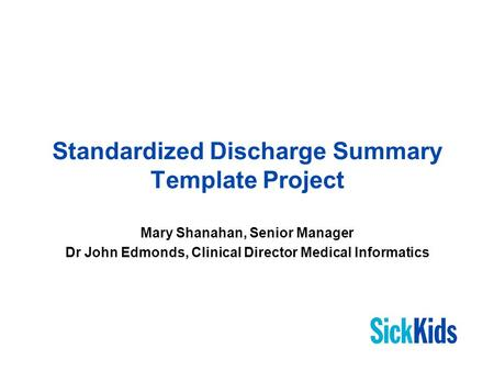 V University Health Network Discharge Summary  Ppt Download
