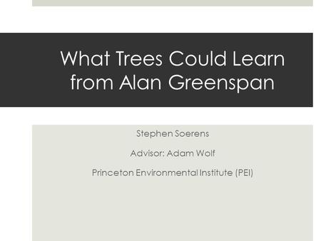 What Trees Could Learn from Alan Greenspan Stephen Soerens Advisor: Adam Wolf Princeton Environmental Institute (PEI)