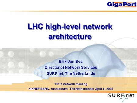 LHC high-level network architecture Erik-Jan Bos Director of Network Services SURFnet, The Netherlands T0/T1 network meeting NIKHEF/SARA, Amsterdam, The.