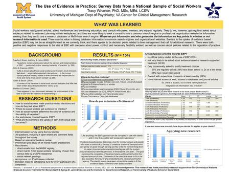 BACKGROUND The Use of Evidence in Practice: Survey Data from a National Sample of Social Workers Tracy Wharton, PhD, MSc, MEd, LCSW University of Michigan.