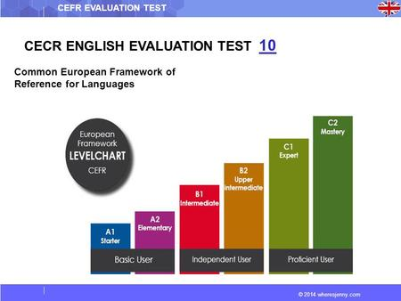 © 2014 wheresjenny.com CEFR EVALUATION TEST CECR ENGLISH EVALUATION TEST 10 Common European Framework of Reference for Languages.