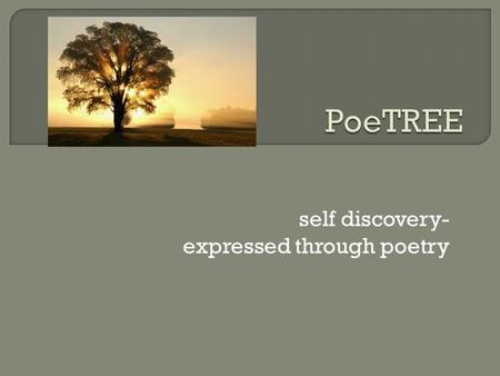 Self discovery- expressed through poetry. 1. What can a tree symbolize? 2. When you look at your life, what type of tree would you say represents you/your.