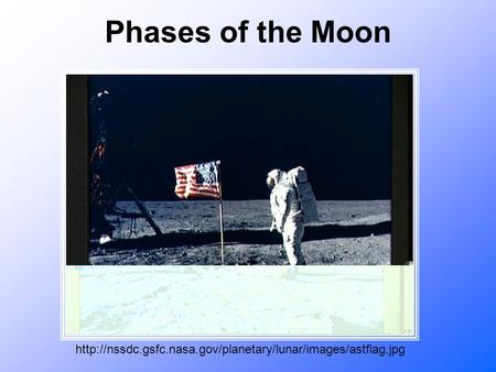 Phases of the Moon http://nssdc.gsfc.nasa.gov/planetary/lunar/images/astflag.jpg.