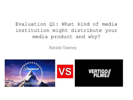 Evaluation Q1: What kind of media institution might distribute your media product and why? Natalie Tawney.
