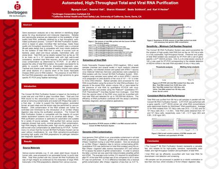 Abstract Automated, High-Throughput Total and Viral RNA Purification Byung-in Lee 1, Seachol Oak 1, Sharon Khietala 2, Beate Schikora 2, and Karl H Hecker.