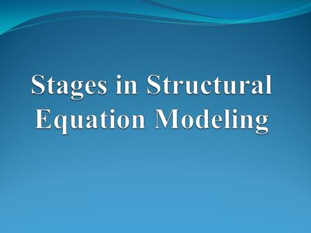 The Stages in Structural Equation Model Stage 1) Assessing individual constructs Stage 2) Developing and assessing the measurement model validity Stage.