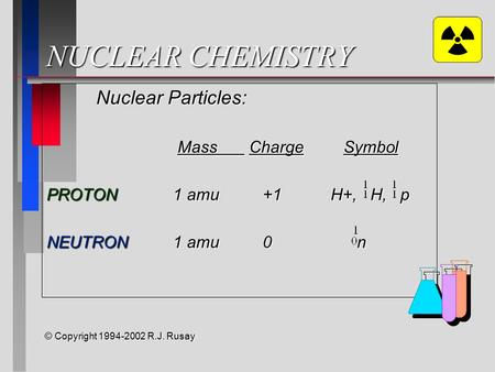 NUCLEAR CHEMISTRY Nuclear Particles: Mass ChargeSymbol Mass ChargeSymbol PROTON 1 amu +1 H+, H, p NEUTRON 1 amu 0 n © Copyright 1994-2002 R.J. Rusay.