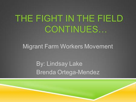 THE FIGHT IN THE FIELD CONTINUES… Migrant Farm Workers Movement By: Lindsay Lake Brenda Ortega-Mendez.