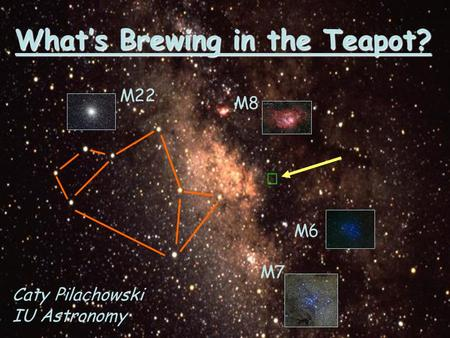 What's Brewing in the Teapot? M7 M6 M8 M22 Caty Pilachowski IU Astronomy.