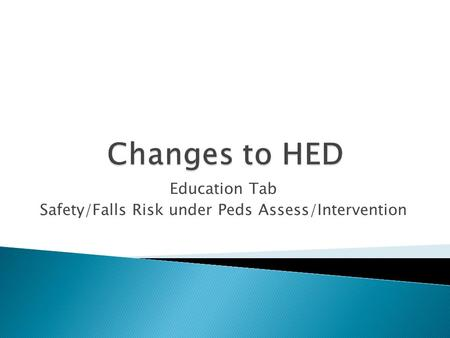 Education Tab Safety/Falls Risk under Peds Assess/Intervention.