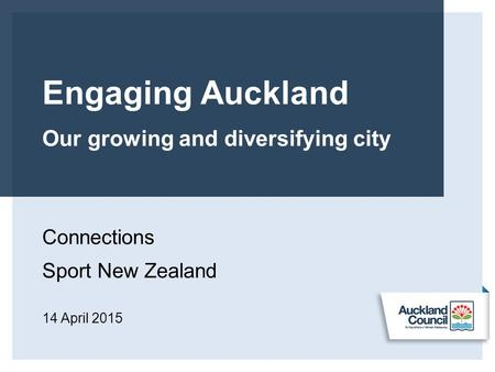 Engaging Auckland Our growing and diversifying city Connections Sport New Zealand 14 April 2015.