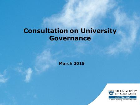 Consultation on University Governance March 2015.
