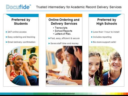 Proprietary and Confidential Preferred by Students ►24/7 online access ►Easy ordering and tracking ►Email delivery confirmation Online Ordering and Delivery.