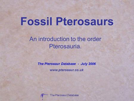 An introduction to the order Pterosauria.