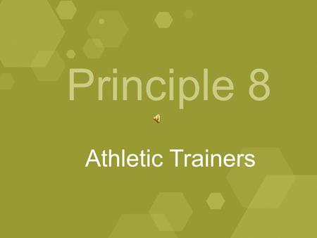 Principle 8 Athletic Trainers. January, 2009 A model Division II athletics program shall feature an adequate number of certified athletic trainers (per.