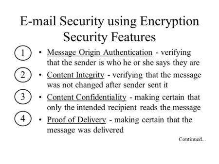 E-mail Security using Encryption Security Features Message Origin Authentication - verifying that the sender is who he or she says they are Content Integrity.