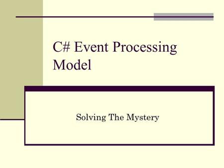 C# Event Processing Model Solving The Mystery. Agenda Introduction C# Event Processing Macro View Required Components Role of Each Component How To Create.