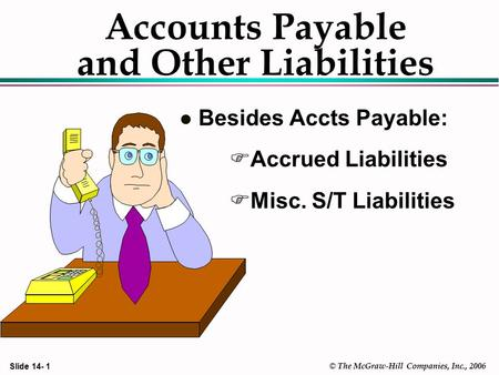 Slide 14- 1 © The McGraw-Hill Companies, Inc., 2006 Accounts Payable and Other Liabilities l Besides Accts Payable: FAccrued Liabilities FMisc. S/T Liabilities.
