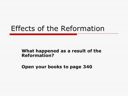 Effects of the Reformation