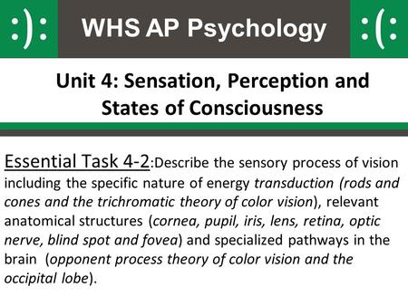 WHS AP Psychology Unit 4: Sensation, Perception and States of Consciousness Essential Task 4-2 :Describe the sensory process of vision including the specific.