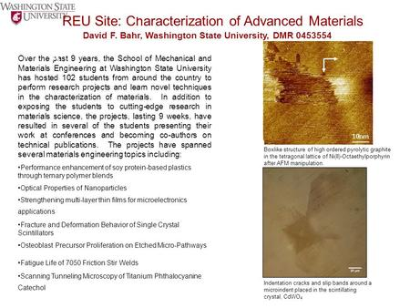 REU Site: Characterization of Advanced Materials David F. Bahr, Washington State University, DMR 0453554 Over the past 9 years, the School of Mechanical.