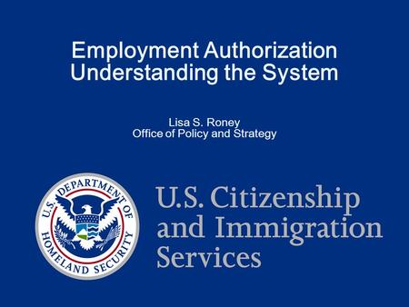 Employment Authorization Understanding the System Lisa S. Roney Office of Policy and Strategy.