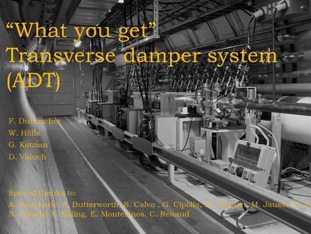 """What you get"" Transverse damper system (ADT) F. Dubouchet W. Höfle G. Kotzian D. Valuch Special thanks to: A. Boucherie, A. Butterworth, S. Calvo, G."