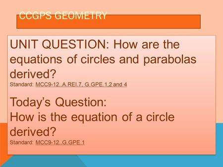 CCGPS GEOMETRY UNIT QUESTION: How are the equations of circles and parabolas derived? Standard: MCC9-12..A.REI.7, G.GPE.1,2 and 4 Today's Question: How.