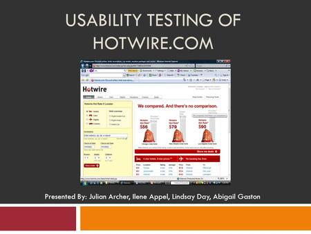 USABILITY TESTING OF HOTWIRE.COM Presented By: Julian Archer, Ilene Appel, Lindsay Day, Abigail Gaston.