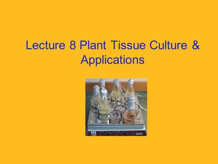 "Lecture 8 Plant Tissue Culture & Applications. What is it? Tissue culture is the term used for ""the process of growing cells artificially in the laboratory"""