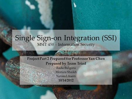 Single Sign-on Integration (SSI) MSIT 458 – Information Security Project Part 2 Prepared for Professor Yan Chen Prepared by Team Triad Radu Bulgaru Moniza.