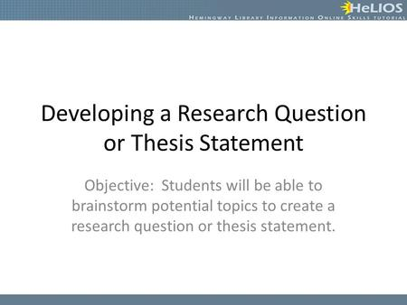 Developing A Dissertation Research Question