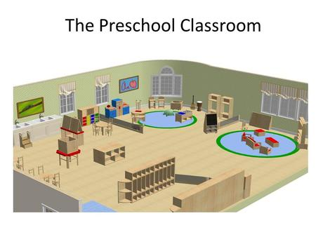 The Preschool Classroom. Learning Centers Block center, language center, art center, dramatic play center, small motor/sensory center, large open space.
