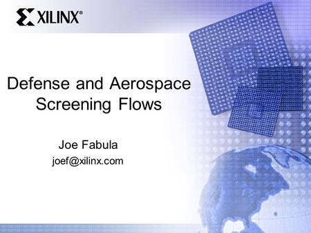 Defense and Aerospace Screening Flows Joe Fabula