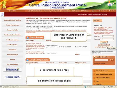E-Procurement Home Page Bid Submission Process Begins: Bidder logs in using Login ID and Password.