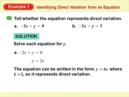 Worksheet Direct Variation Worksheet 3 6 model direct variation you will write and graph example 1 identifying from an equation tell whether the represents variation