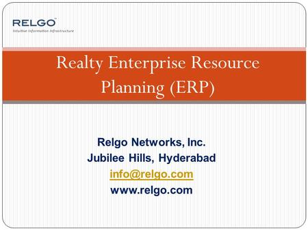 Relgo Networks, Inc. Jubilee Hills, Hyderabad  Realty Enterprise Resource Planning (ERP)