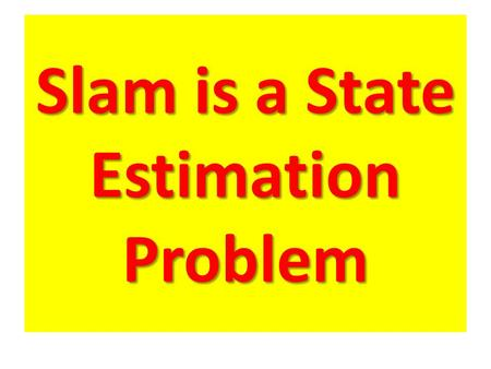 Slam is a State Estimation Problem. Predicted belief corrected belief.