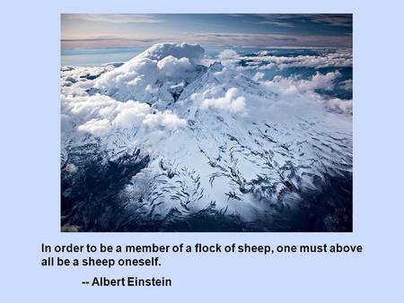 In order to be a member of a flock of sheep, one must above all be a sheep oneself. -- Albert Einstein.
