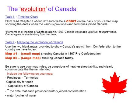 The 'evolution' of Canada Task 1 - Timeline Chart Skim read Chapter 7 of our text and create a chart on the back of your small map showing the dates when.