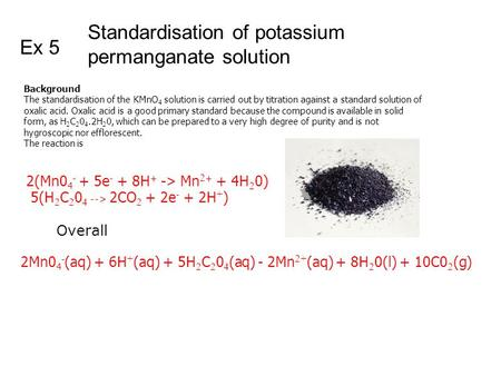 Standardisation of potassium permanganate solution Ex 5