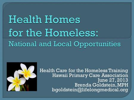 Health Care for the Homeless Training Hawaii Primary Care Association June 27, 2013 Brenda Goldstein, MPH