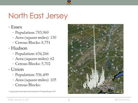 Friday, January 11, 2013 North East Jersey Essex Population: 783,969 Area (square miles): 130 Census Blocks: 8,751 Hudson Population: 634,266 Area (square.